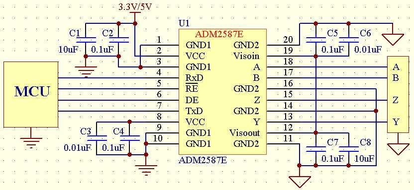 其应用电路图如下:           adm2587e的全双工隔离电路与半双工隔离