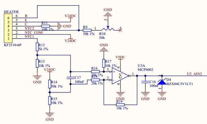 上图中我们通过一个电桥来采集NTC电阻的变化,因为电阻的变化会引起C17两端电压的变化。温度越高NTC电阻越小,C17两端电压差就越大,反之越小。我们采用了25摄氏度时,阻值为10K的NTC。不难推断出输出电压与NTC电阻值得关系。当输出电压为0V时,电阻约25K,查表可知唯独为5摄氏度左右。当输出电压为5V时,电阻值接近0,查表可知在100摄氏度以上。职业便是这个电路的理论测量范围。 2、软件设计 前面我们设计了测量电路,也分析了检测电压与NTC电阻制的关系。接下来我们主要讨论一下软件设计。软件的设计