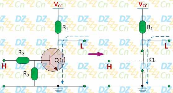 施加到电灯泡两端,如下图所示:  电灯泡是阻性负载(相当于一个电阻),如果换成是感性负载,我们还必须在感性负载两端反向并联一个二极管,如下图所示继电器应用电路:  因为感性负载相当于一个电感,当三极管由导通变为截止时,电感中的电流将会产生突变,如果此时没有一个电流回路慢慢使电流下降,电感两端将产生很高的反向电动势,并联的二极管D1即用来为感性负载续流(防止三极管Q1被击穿的同时也可以保护继电器本身),因而称之为续流二极管,如下图所示:  如果负载消耗的电流比较大,相应的可以选择集电极电流较大的三极管或达林