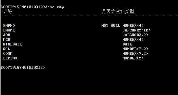 emp表的结构,查询emp表中所有数据.
