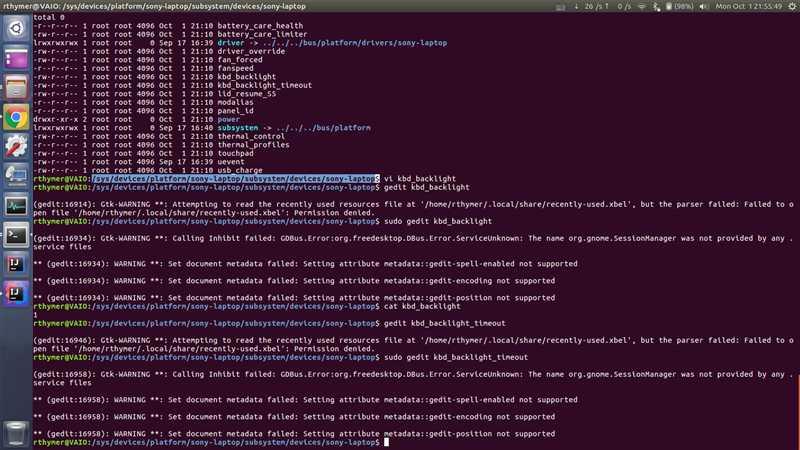 vaio笔记本在ubuntu环境下设置键盘背光常亮