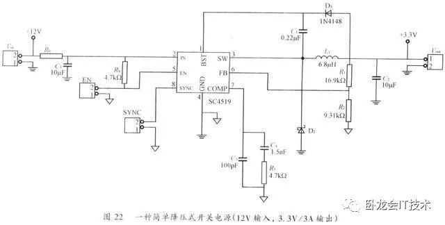 3)在SC4519接地脚的附近加 个过孔将功率电路接地层与控制信号电路接地层单点式的相连接。   图23是该电源PCB上层排版图。为了力便读者理解,功率接地层和控制信号接地层分别用不同颜色来表示。在这里输入插座被放置在PCB的上方,而输出插座被放置在PCB的下方.滤波电感(L1)被放在PCB左边并靠近功率接地层,而对于噪音较敏感的反馈补偿电路(R3,C4,C5)则被放存PCB右边并靠近控制信号接地层。D2非常靠近SC4519的脚3及脚4。图24是该电源PCB下层排版图。输入滤波电容(C3)被放置在PCB