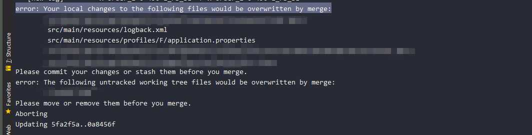 Please commit your changes or stash them before you merge.
